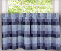 "Harvard 24"" kitchen curtain tier - Blue from Achim"