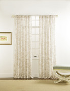 "Cecilia Printed Sheer Rod Pocket Curtain 84"" long - Linen"