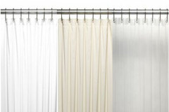 Bulk Case Pack (24 pcs @ $9.34 ea) Vinyl Mildew Resistant Shower Curtain Liner - 10 gauge in white, bone, clear