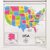 Map of the United States - Shower Curtain from Saturday Knight LTD.