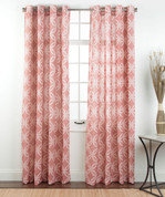 Theo Printed Grommet Top Curtain Panel - Coral from Belle Maison