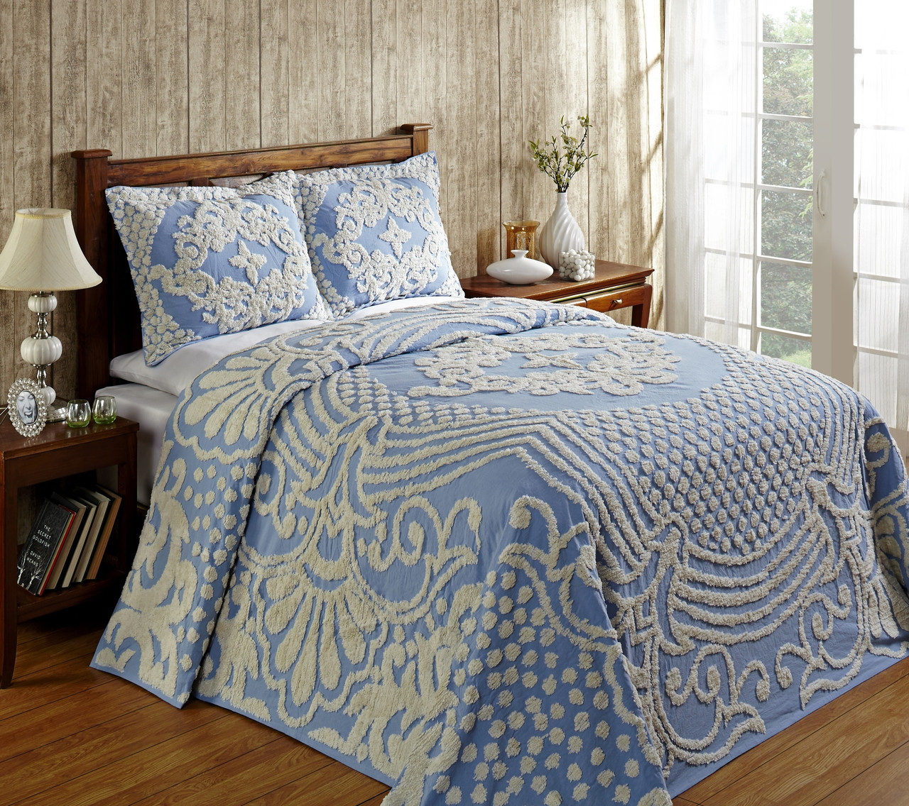 Florence Chenille Bedspread Twin Blue Linens4less Com