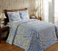 Florence Chenille Cotton Bedspread Full - Blue from Better Trends