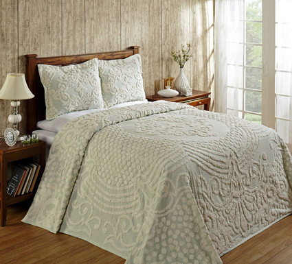 Florence Cotton Chenille Bedspreads in Sage from Better Trends