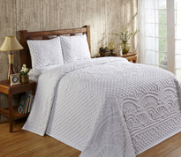 Trevor Chenille Bedspread SET includes pillow sham(s) in White from Better Trends. Available in all sizes. Twin, Full, Queen, King