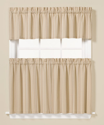 Barcode Kitchen Curtain from Saturday Knight. Available in tiers and valances