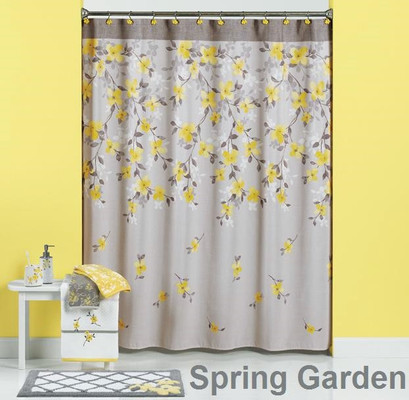 Spring garden shower curtain bathroom accessories for Spring bathroom decor