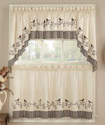 Birds Kitchen Curtains - shown in picture: one swag + one valance over one tier