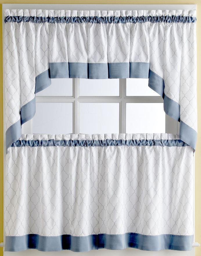 Glendale Blue Kitchen Curtain 24 Tier Pr