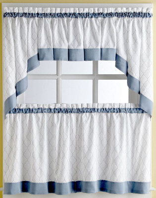 Glendale Blue Kitchen Curtains - shown in picture: one swag + one valance over one tier