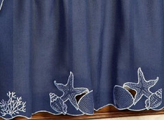"Sanibel Seashells Blue kitchen curtain 24"" tier (pr)"