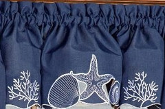 Sanibel Seashells Blue kitchen curtain valance