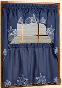 Sanibel Seashells Blue Kitchen Curtains - shown in picture: one swag + one valance over one tier
