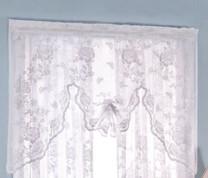 Abbey Rose Floral Lace Rod Pocket Swagger Valance - White