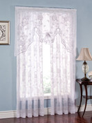 Abbey Rose Floral Lace Rod Pocket Curtains - White from Lorraine Home