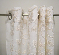 Darcy Chenille Grommet Top Curtain Panel - Ivory