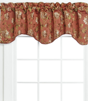 Dahlia Scalloped Lined Valance - Rust