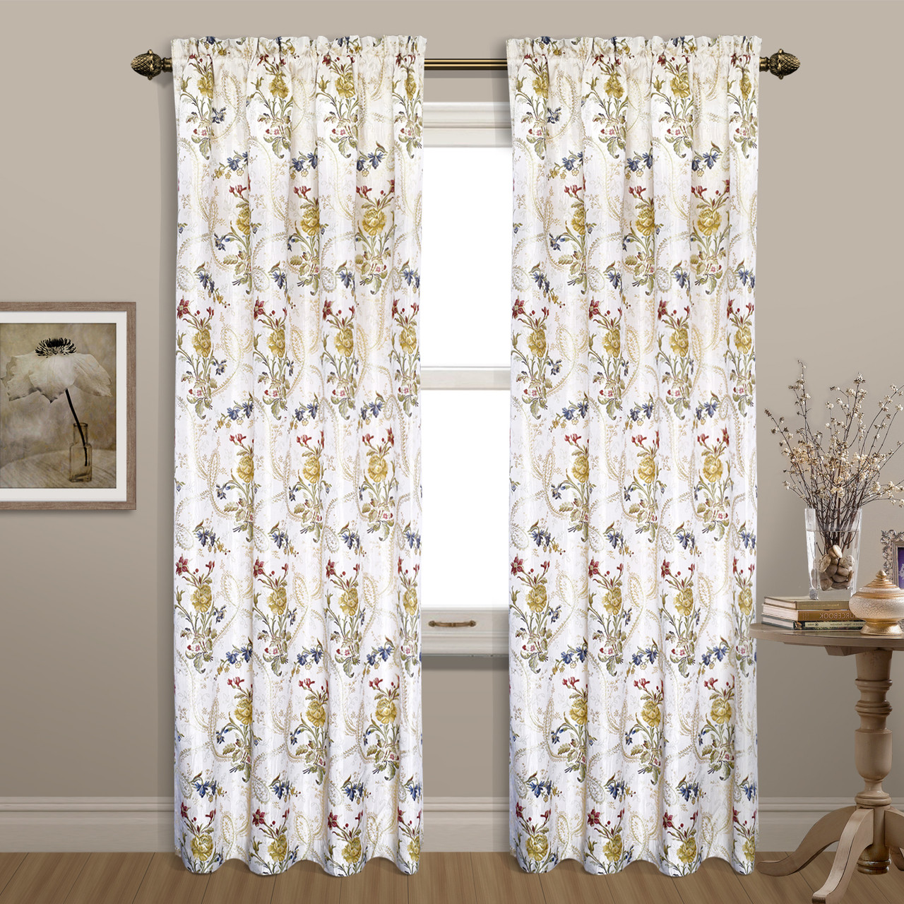 Jewel Embroidered Rod Pocket Curtain Panel White
