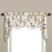 Jewel Embroidered Austrian Valance - White