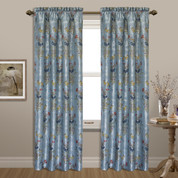 Jewel Embroidered Rod Pocket Curtain Panel - Blue