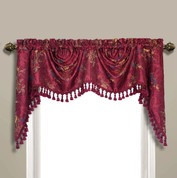 Jewel Embroidered Austrian Valance - Burgundy