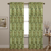 Jewel Embroidered Rod Pocket Curtain Panel - Green