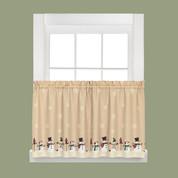 "Snowman Magic Christmas kitchen curtain 24"" tier"