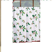 "Deck the Halls Christmas kitchen curtain 24"" tier (pr)"