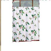 "Deck the Halls Christmas kitchen curtain 36"" tier (pr)"