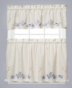 Seabreeze Embroidered Kitchen Curtain - Ocean