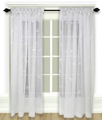 Zurich Embroidered Rod Pocket Curtains - White