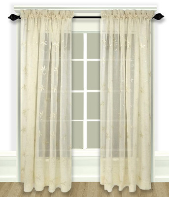 Zurich Embroidered Rod Pocket Curtain Panel - Ivory