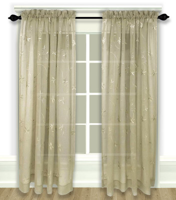 Zurich Embroidered Rod Pocket Curtain Panel - Linen