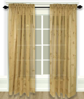 Zurich Embroidered Rod Pocket Curtain Panel - Butterscotch