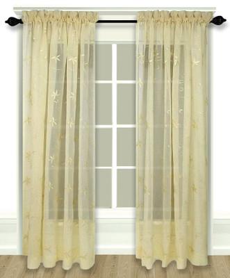Zurich Embroidered Rod Pocket Curtain Panel - Custard