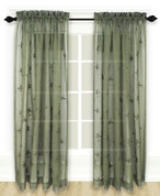 Zurich Embroidered Rod Pocket Curtain Panel - Olive