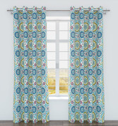 Iris Printed Grommet Top Curtain Panel - Marine from Belle Maison