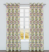 Iris Printed Grommet Top Curtain Panel - Sorbet from Belle Maison