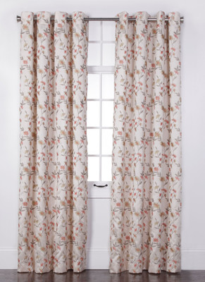 Wisteria Embroidered Grommet Top Curtain Panel   Ivory From Belle Maison