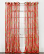 Tango Sheer Grommet Top Curtain Panel - Chili from Belle Maison