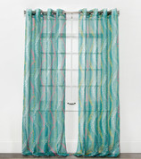 Tango Sheer Grommet Top Curtain Panel - Teal from Belle Maison