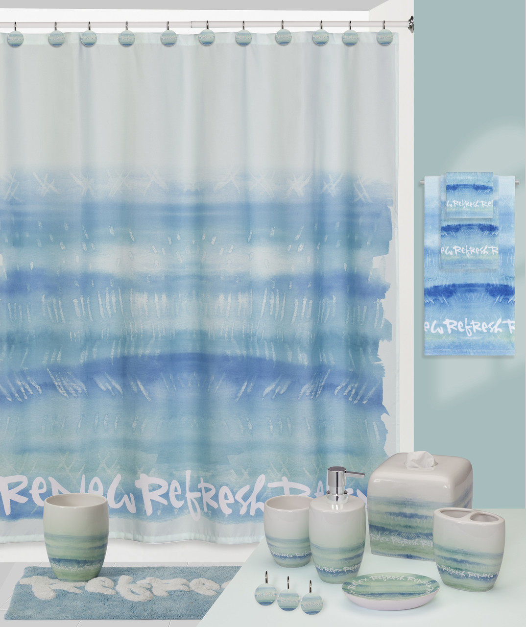 Splash relax shower curtain and bathroom accessories - Bathroom shower curtains and accessories ...
