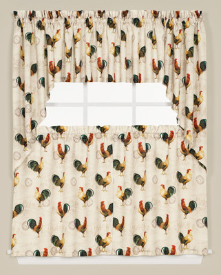 Tuscan Morning Roosters Kitchen Curtain from Saturday Knight - swag and valance over a tier