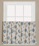 "Seychelles Seashells 36"" kitchen curtain tier from Saturday Knight"