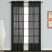 Monte Carlo Sheer Rod Pocket Curtain pair - Black