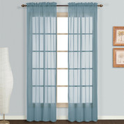 Monte Carlo blue sheer rod pocket curtain pair