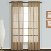 Monte Carlo taupe sheer rod pocket curtain pair