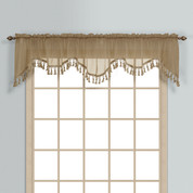 Monte Carlo Sheer fringed scalloped valance - taupe (2 shown in picture)