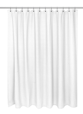 Waffle Weave Extra Long Cotton Shower Curtain White