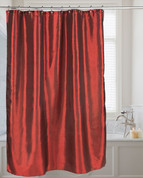 Shimmer Faux-Silk Shower Curtain - Ruby